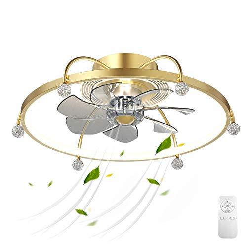VOMI Ventilador de Techo con Luz 3 Velocidades Silencioso Ventilador Lámpara de Techo con Mando a Distancia Regulable Lámpara de Plafon 60W 3 Cambios de Color para Dormitorio Sala de Estar Dorado