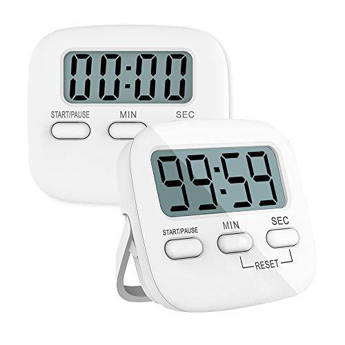 Temporizador de Cocina Digital Magnetico Con Gran Pantalla LCD,Cronómetro de Cuenta Atrás,Con Función de Soporte,Para Yoga, Reunión, Clase,2 Piezas