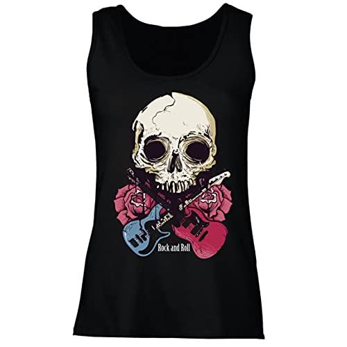 lepni.me Camisetas sin Mangas para Mujer Guitarras, Calavera, Rosas - Amantes del Concierto de Rock & Roll (L Negro Multicolor)