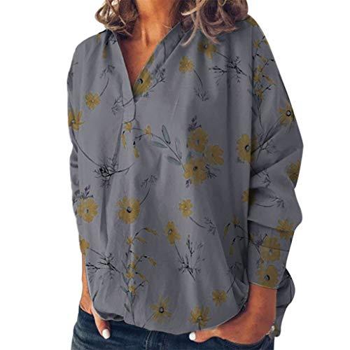 Chemise Mode Femme Manche Longue Collier de Revers Impression de Fleurs Chemisier Décontracté Robe