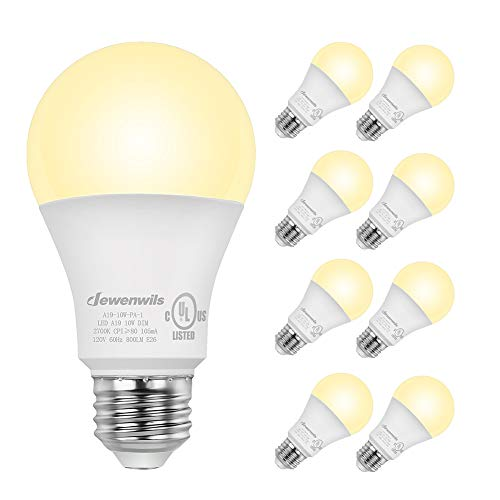 DEWENWILS 8-Pack Dimmable LED A19 Light Bulb, Soft White Light with Warm Glow, 800 Lumen, 2700K, 10W (60 Watt Equivalent), E26 Medium Screw Base, UL Listed