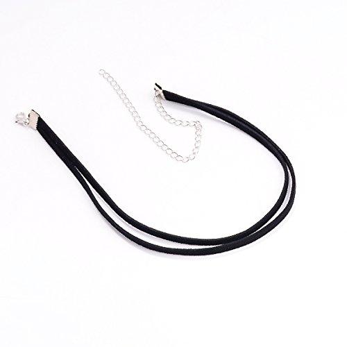 ZHBSS Damenschmuck Einfache Mode Halskette Kaschmir Kurze Halskette Weibliche Schwarze Doppelseil