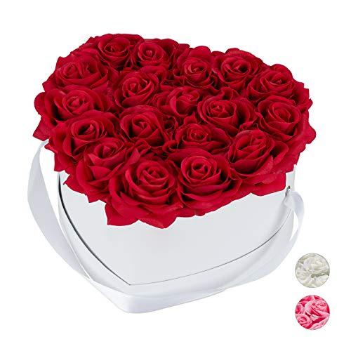 Relaxdays Rosenbox Herz, 18 Rosen, stabile Flowerbox weiß, 10 Jahre haltbar, Geschenkidee, dekorative Blumenbox, rot