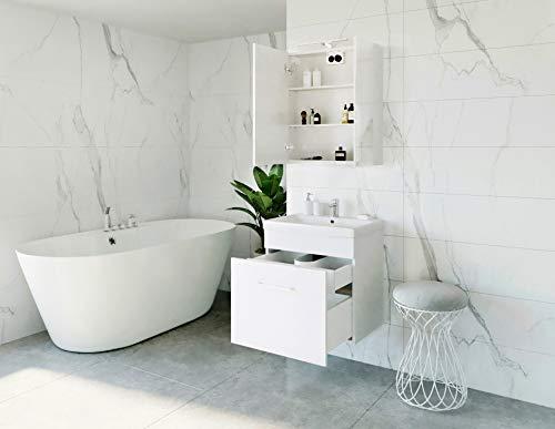 Planetmeubel wastafel + spiegelkast badmeubel set 60 cm voor badkamer toilet