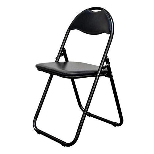 QIDI Chaise Pliante Chaises Pliantes Métal en Cuir Simple Moderne Pliable Économisez de l'espace Ménage Bureau Bureau Personnel de Loisirs (Couleur : Noir)
