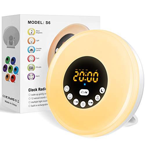 Luce Sveglia da Comodino,Wake up Lampada Sveglia da Comodino con Luce Dell'atmosfera, Sveglia per Bambini,Luce Notturna LED con Funzione Snooze