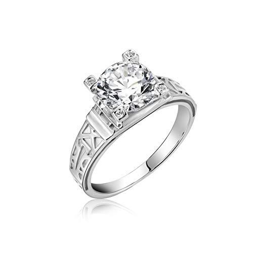 Bishilin Damen Ringe Gold 18 Karat 4-Steg-Krappenfassung Moissanit 2ct Verlobungsringe Weißgold Trauringe mit Diamant Gr.47 (15.0)