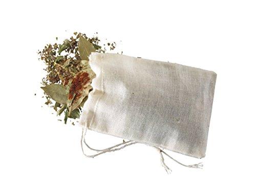 Kitchen Craft Pack de Bolsitas para Especias, Lino, Blanco, 6x2x6 cm, 4 Unidades