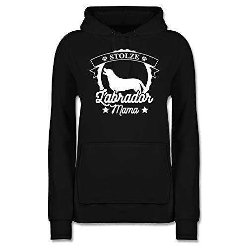 Geschenk für Hundebesitzer - Stolze Labrador Mama - M - Schwarz - autoaufkleber Hund Labrador - JH001F - Damen Hoodie und Kapuzenpullover für Frauen