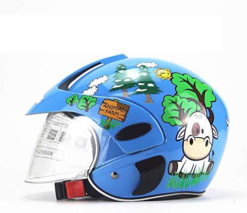SHOPTOP Casco de Ciclo para niños, Edad de 2 a 8 años de Edad para niños pequeños Cascos de Ciclo de Seguridad de Dibujos Animados niñas Cascos de Seguridad para Ciclismo en Bicicleta patineta,Azul