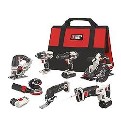 cheap PORTERKABEL 20V MAX cordless drill combination set, 8 tools (PCCK6118)