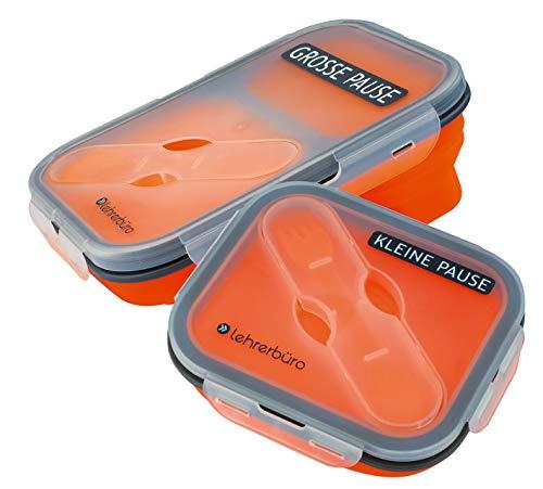 lehrerbüro Quetschi Lunchbox-Set, Kleine & Große Pause, Faltbare Silikon Brotdosen mit Besteck, platzsparend, luftdicht, schönes Geschenk für Lehrer, BPA-frei, mikrowellengeeignet, 650 + 350 ml
