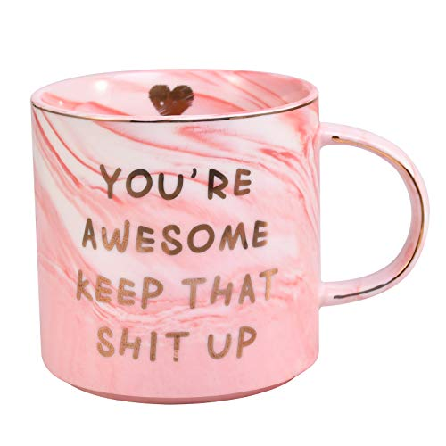 ORALER Gifts for Wife Christmas Gifts for Girlfriend,12 OZ Funny Coffee Mug: You're Awesome Unique Ceramic Valentine's Day Festival Birthday Gifts for Her Him Men&Women Who Love Tea Mugs&Coffee Cups