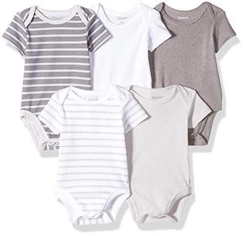 Hanes Ultimate Baby Flexy 5 Pack Short Sleeve Bodysuits, Grey Stripe, 0-6 Months