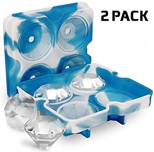 Cube Maker, Vorm Van De Diamant Ice Cube Tray Whisky Ice Ball, Mold Cube Cocktails Siliconen For Whisky Tool Ice Cream Vormen Cocktails En Drankjes (Color : Blue white)
