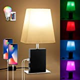 16 Colors RGB Table Lamp, Remote Control USB Table Lamp with 5 Levels Brightness, Total 80 Lights, Dimmable USB Bedside Lamp with Dual USB Ports & AC Outlet, Nightstand Lamps for Bedrooms