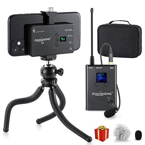 Microfono Wireless Lavalier Per Smartphone Camera Omnidirezionale Ricaricabile 20 Canali Sistema Microfono Senza Fili UHF Per iphone Android Registrazione Intervista Youtube Vlog- ZHUOSHENG