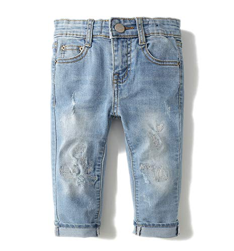 Kidscool Grils Ripped Holes Stone Washed Soft Slim Jeans,Blue,4T