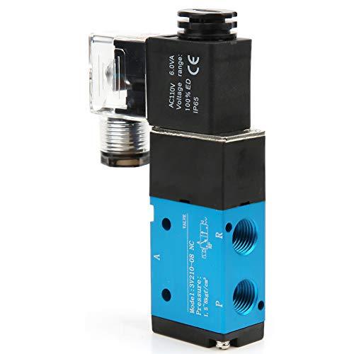 Válvula solenoide PT1/4in, 3V210-08 Válvula solenoide 1.2MPa 170Psi Conexión eléctrica de 2 posiciones y 5 vías operada por piloto Tipo IP65(AC110V)