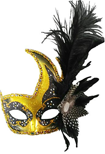 Costume Mask Feather Masquerade Mask Halloween Mardi Gras Cosplay Party Masque (001Black)
