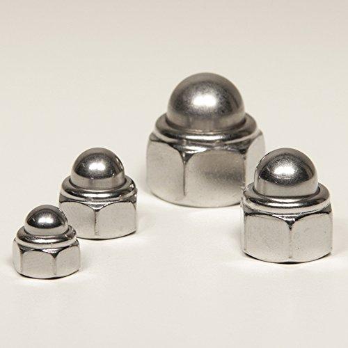 DERING Hutmuttern M8 selbstsichernd mit nichtmetallischem Klemmteil DIN 986 Edelstahl A2 (10 Stück) | Sechskant-Muttern | Stoppmuttern | Elastik-Stopmuttern | Sicherungsmuttern | rostfrei