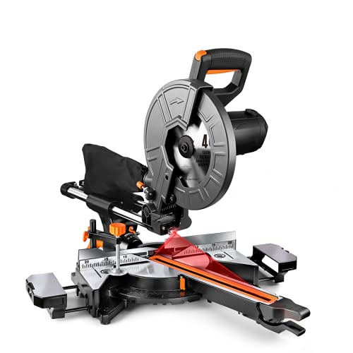 10-Inch Sliding Compound Miter Saw, 15 Amp Motor With Double Speed (4500 RPM & 3200 RPM), 3 Blades, Bevel Cut (0°-45°), Red Laser, Iron Blade Guard - EMS01A