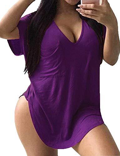 Allegrace Womens Casual Scoop Collar Plus Size T Shirts Summer Tops Tee Purple XXXL