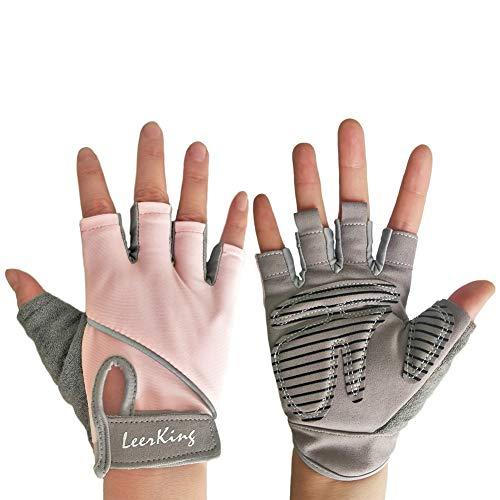 LeerKing Fitness Handschuhe Kurzfinger Trainingshandschuhe rutschfeste Fahrradhandschuhe Damen Herren Sporthandschuhe ohne Handgelenk für Radfahren Yoga Bodybuilding Krafttraining Pink M