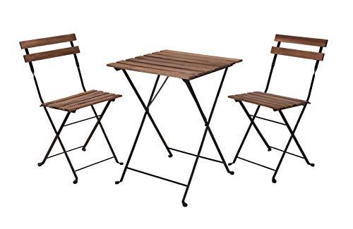 Conjunto de muebles de jardín de madera, 2 sillas y mesa de metal – Juego de muebles de balcón – Silla plegable