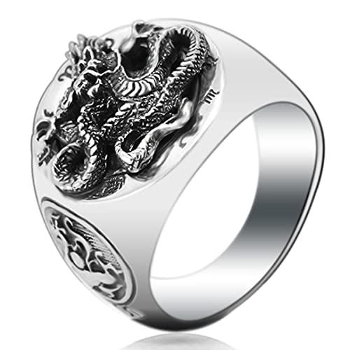 CHXISHOP Anillos de los Hombres S925 Anillos de Plata Personalizados Anillos de dragón Hechos a Mano de los Hombres (19# -24#) Silver-23#