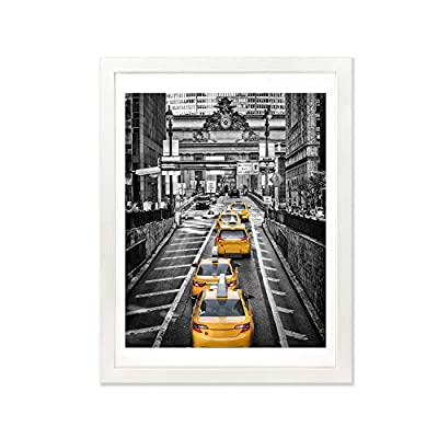 Finefrarm 12x16 White Picture Frame to Display 11x14 Photo with Mat or 12 by 16 Picture Without Mats Solid Wood Picture Frames Wall Art for Living Room Wall Mounting and Tabletop Decor