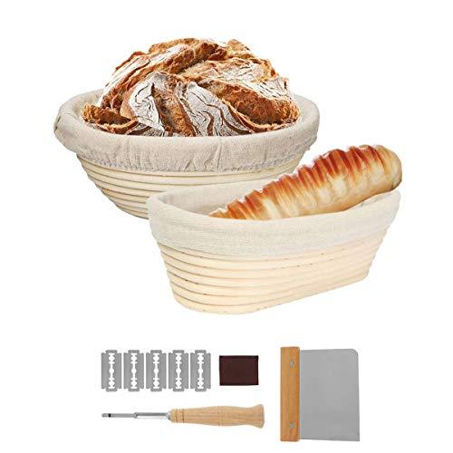 Gärkörbchen Rund & Oval 2stk Gärkorb Rattan Bambuskorb für Brot und Brotteig Brotkorb mit Leineneinsatz Teigschaber und Brotmesser