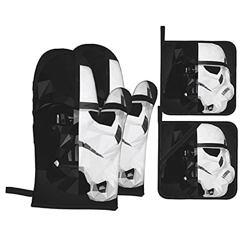 BAIKJUTOUNA Darth Vader Stormtrooper Baby Yoda Star The Wars Manoplas de horno y soporte para ollas, resistentes al calor, reutilizables para hornear y cocinar