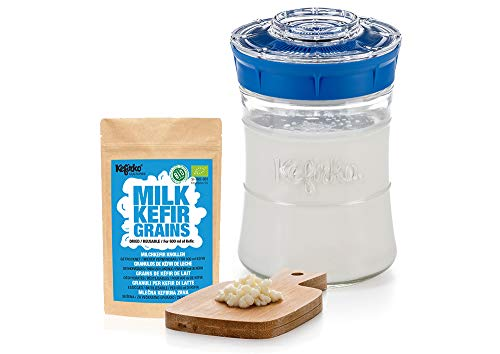 Kefirko Starter kit I Kefir Fermenter with Organic Milk Kefir Grains (Blue)