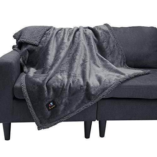 Manta Impermeable para Mascotas, Manta Mullida de Compresión de Doble Capa para Perros, Gatos Gris Oscuro M (100*145cm)