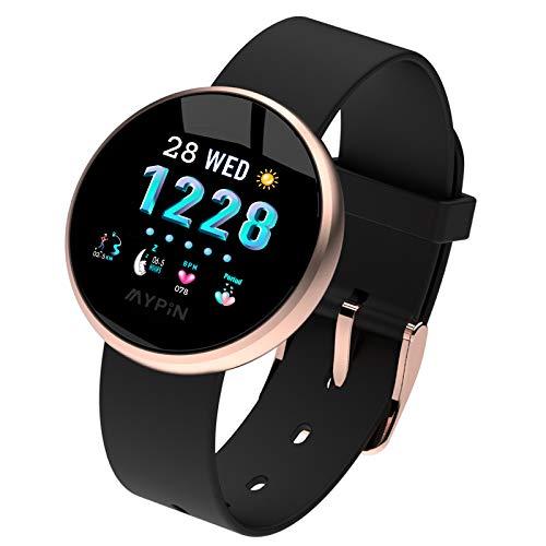 MYPIN Reloj inteligente IP68 resistente al agua Fitness reloj de pulsera para mujer Activity Tracker menstrual registro de frecuencia cardíaca podómetro monitor de sueño para Android e iOS, oro rosa