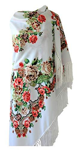 Supplied by All 4 Decor Damen Umschlagtuch Russisches Stil Schöner Groß Schal Tuch mit Blumenmuster und Fransen (Weiß)