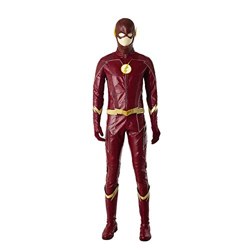 BCOGG 2018 The Flash Season 4 Barry Allen Flash Disfraz de cosplay Carnaval Disfraces de Halloween para hombres adultos Disfraz de flash rojo uniforme M juegos completos