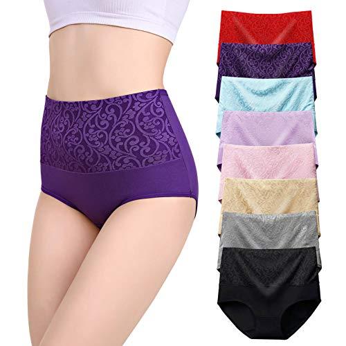 YOULEHE Bragas de cintura alta para mujer, de algodón, cobertura completa, suave, transpirable, multipack
