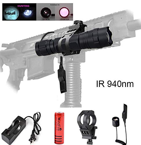 WindFire 940nm IR Illuminator LED Flashlight, Infrared Flashlight Torch Light, Zoomable Adjustable Focus Handheld Flashlight for Night Vision Shooting Hunting with Battery, Charger, Pressure Switch