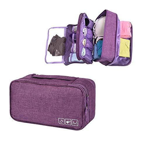 Organizador de sujetadores de viaje, Aolvo Oxford ropa interior organizador impermeable personal toalla de viaje bolsa de maquillaje bolsa de almacenamiento para mujeres chica hombre morado morado