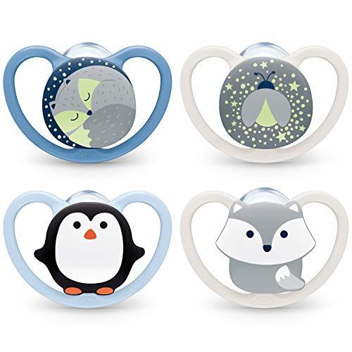 NUK Space und Space Night Schnuller   0–6Monate   Schnuller mit Leuchteffekt und extra Belüftung   BPA-freies Silikon   Pinguin und Fuchs   4Stück