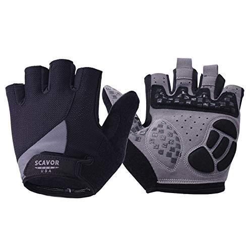 SCAVOR Gepolsterte fingerlose Mountainbiking-Handschuhe – für Männer Frauen Jungen mit vollem Daumen, halbe Finger – perfekt für Sport, Radfahren, Angeln, Radfahren, Rollstuhl (schwarz, groß)