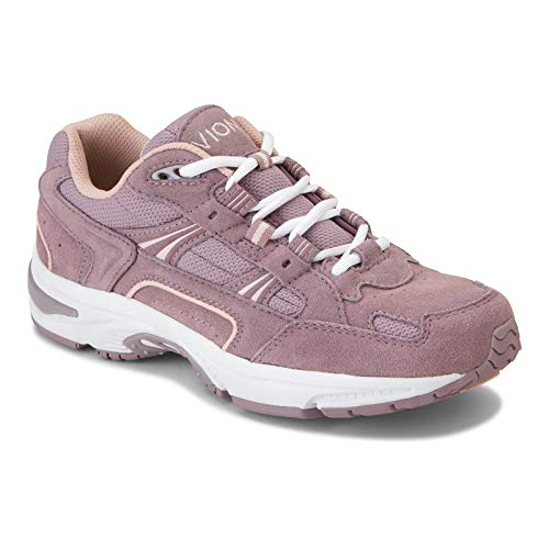 Vionic Women's Walker Classic Walking Shoes with Concealed Orthotic Arch Support Mauve Suede 5 Medium US