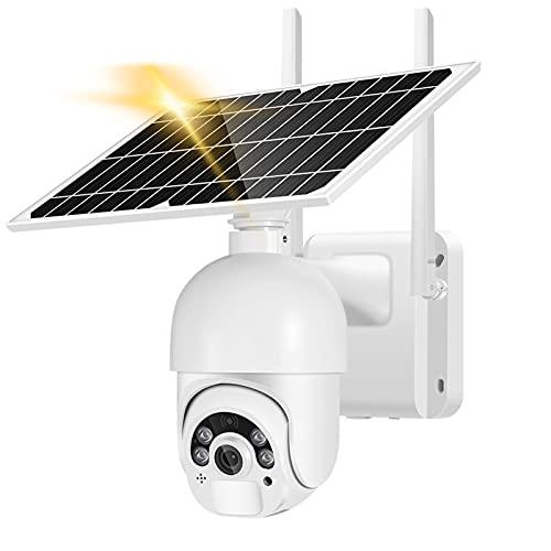 Telecamera di sicurezza solare wireless, telecamera 1080P Wifi Telecamera PTZ pannello solare 8W, telecamera di rilevamento movimento impermeabile per visione notturna esterna