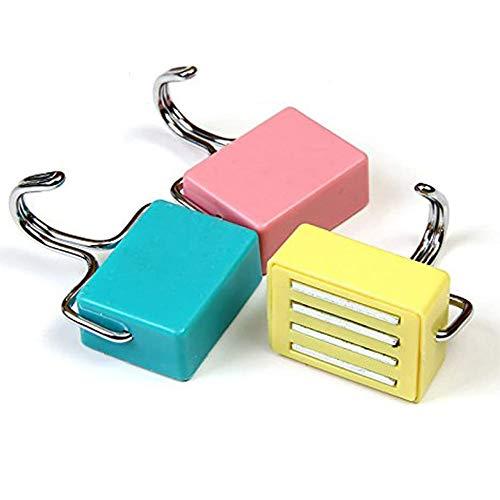 Magnetisch Haken Küche stark Magnetische Haken für Schlüssel, Mantel, Kühlschrank und Türen Pastell Rosa, Gelb, Blau (3Pcs)