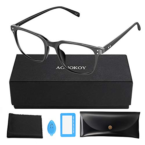 AONOKOY Blue Light Blocking Glasses, Anti-Blue Reading Gaming Glasses Retro Clear Lens, Computer...