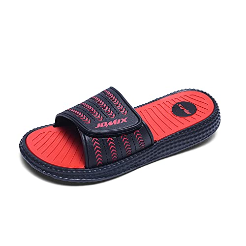 Jomix Chanclas de velcro para hombre, de verano, para playa, casa, piscina, gimnasio, de goma antideslizante Rojo Size: 43 EU