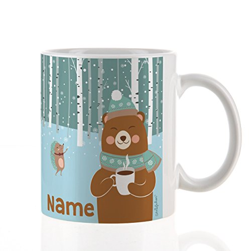 Striefchen® Winter-Tasse mit niedlichen Bären und Aufdruck des Namens