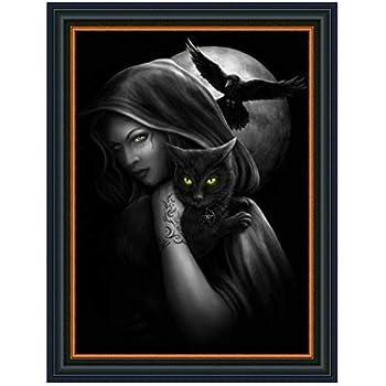 5D DIY Full Drill Diamond Painting Halloween Cat Witch Cross Stitch Kit N#S7